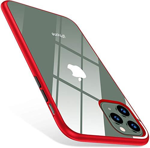 iphone 11 Pro max ケース 6.5インチ クリア 薄型 軽量 耐衝撃 衝撃吸収 背面 PC サイド ソフトTPU ワイヤレス充電対応 アイフォン 11 pro max ケース 全面保護 SGS認証 2019年 6.5インチ用カバー(クリア+レッド)