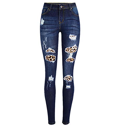 JCNHXD Mujeres Leopard Patchwork Skinny Jeans Mujer Pantalones de Mezclilla Rasgados Mujer Jeans de...