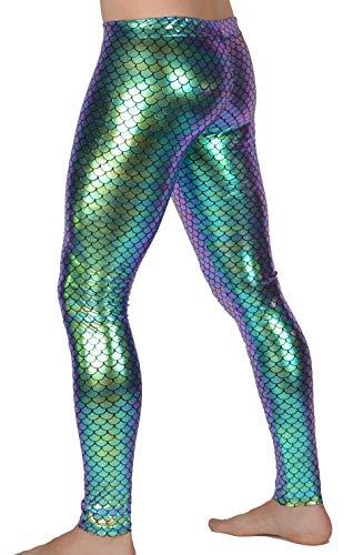 Revolver Fashion Herren Leggings, Meerjungfrau, Holografisch, Festival Party Kostüm - Grün - Large (34/36 Taille)