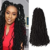 New Butterfly Faux Locs Crochet Braids 6 Packs 24 Inch Goddess Locs Natural Black Pre-twisted Knotless Crochet Hair Synthetic Braiding Hair Extensions (24Inch, 1B)