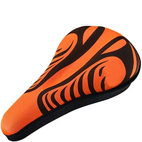 Bike Seat Thicken Silicone Memory Foam Bike Saddle Breathable Comfortable Mountain Road Bike Seat Orange+Black
