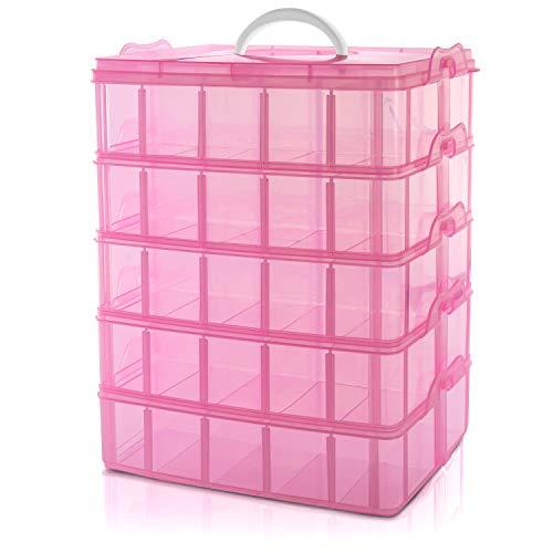 BELLE VOUS Caja Almacenamiento Plástico Rosado 5 Niveles - Ranuras de Compartimentos Ajustables - Caja Organizadora Plástico Transparente - Máximo 50 Compartimentos - Guardar Juguetes Joyas, Cuenta