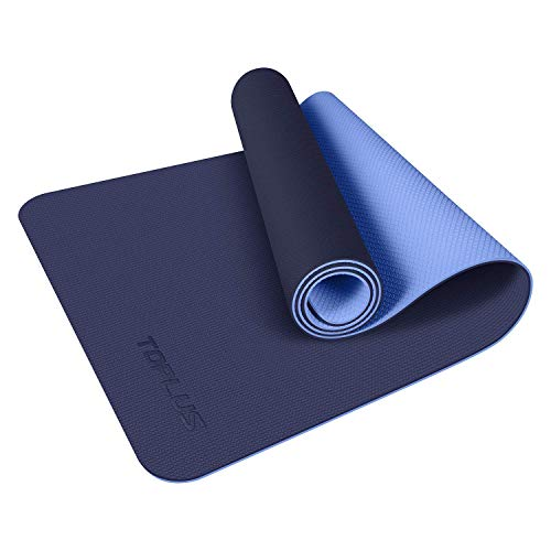 TOPLUS Yoga Mat, Classic Pro Fitness Mat TPE Eco Friendly Non Slip Exercise Mat with Carrying Strap-Workout Mat for Yoga, Pilates and Gymnastics 183 x 61 x 0.6CM (Blue)