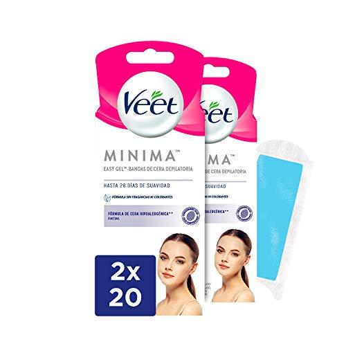Veet Bandas de Cera Fría Depilatoria para Depilación Facial, Hipoalergénicas para Pieles Sensibles - Duplo Pack 2x20 bandas