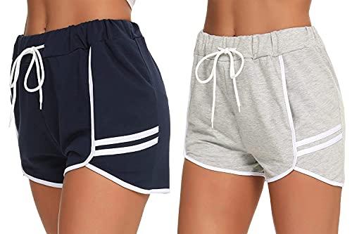 Hawiton Pantalones Deportivo Corto Mujer,Pantalón Chandal Mujer Pantalón de Deportes Yoga Casual Gimnasio Ejercicio Pantalones Deportivos con Bolsillo Lateral para Mujer de Verano