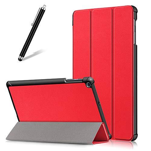 Artfeel Custodia per Samsung Galaxy Tab A 10.1 2019 T510 T515,Sottile Leggero Pelle Cover Pieghevole Supporto Regolabile Multi-Anglo Caso Slim Flip Folio Tablet Copertura,Rosso