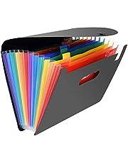منظم الملفات القابل للتمدد من 12 جيبًا، منظم ملفات بنمط اوكورديون يمكن حمله وقابل للتوسع بمقاس ايه 4 بسعة كبيرة والوان متعددة وحامل من البلاستيك مخصص للاعمال وحفظ الملفات