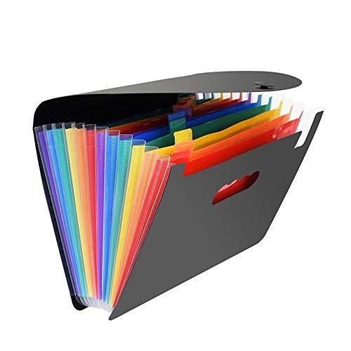 12 Pockets Expanding File Folders, Portable Accordion A4 Expandable File Organizer, Large Capacity Multicolour Stand Plastic Business File Box