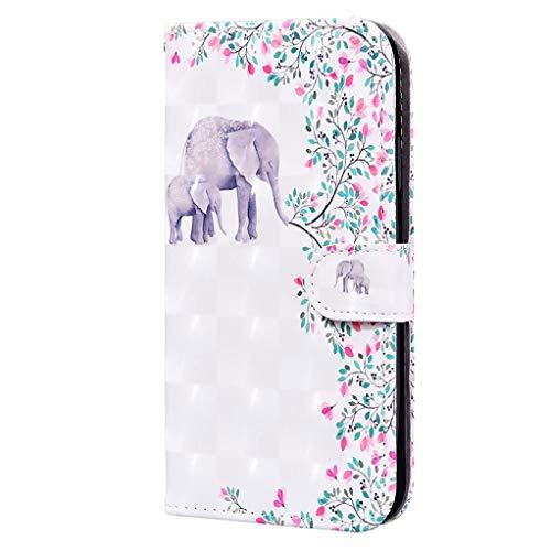 CRABOT Compatible con la Funda Samsung Galaxy A11/M11,Funda Abatible,Resistente a Caídas,Patrón de Animales en 3D,Funda de Piel Sintética con Soporte +1*Srceen Gratis (Elefante)