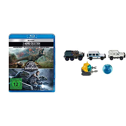 Jurassic World 2 Movie Collection Blue-Ray inkl. Mattel Matchbox FMX40 Jurassic World Die-Cast 5er Fahrzeug Geschenkset