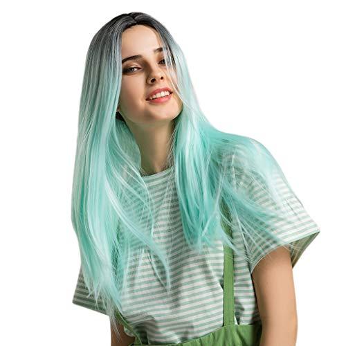 Viesky - Peluca de mujer de color negro con degradado de color azul y verde