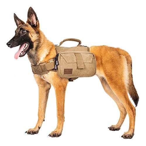 OneTigris Dog Pack Hound Travel Camping Hiking Backpack Saddle Bag Rucksack for Medium & Large Dog (Brown, Medium)