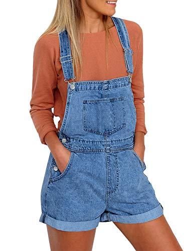 Lookbook Store Women's Casual Denim Bib Overalls Shorts Cuffed Hem Stretch Jeans Shortalls Romper Medium Denim Blue Size Medium