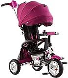 Triciclos Tricycle Kids TRIKE TRIBLE BEBY Carriage, Triciclo para niños, Cochecito de dirección plegable, Carro de niños, Niños de niños 1-5 Cochecito de triciclo para bebés Silla de empuje para niños