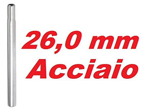 CSM Canotto Tubo Reggisella Candela Acciaio 25,8-26,0-26,2-26,4-28,6 Argento (26.0 mm)