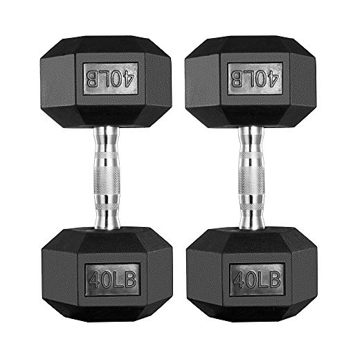 papababe Dumbbells Free Weights Dumbbells Weight Set Rubber Coated cast Iron Hex Black Dumbbell Pair (40, Pair)