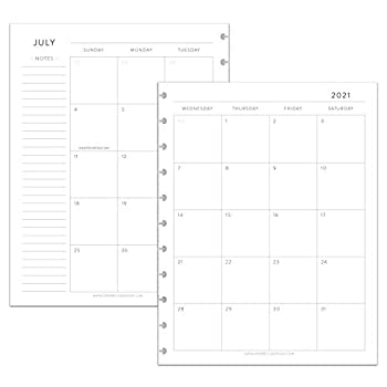 BetterNote July 2021 - June 2022 Academic Monthly Calendar Refill Disc Notebook Fits 11-Disc Levenger Circa Arc TUL Letter Size 8.5 x11  Classic  Notebook Not Included