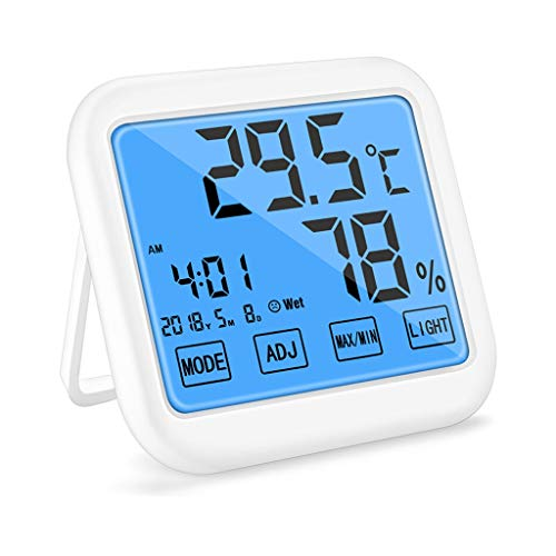 Kai Xin Thermo-Hygrometer, High Precision Digital Hygrometer, Innenthermometer, Touch Screen, mit Nachtlicht, Haus, Büro, Baby-Raum, Weiss (Color : A)