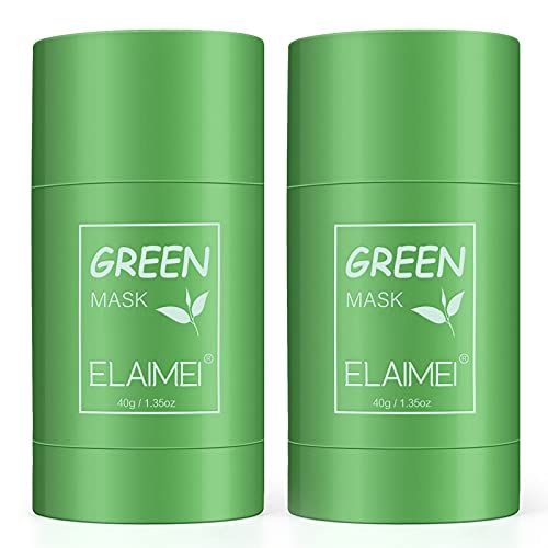 Green Mask Clay Stick, (2PACK)Grüntee Purifying Clay Green Mask, Befeuchtet die Ölkontrolle, Deep Cleansing Smearing Clay Mask, Deep Clean Pore, Moisturizing Nourishing Skin