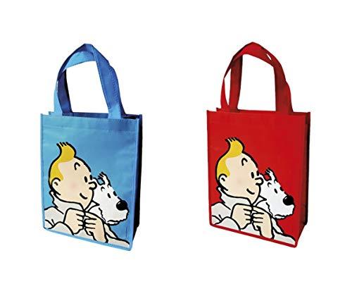 Einkaufstaschen-Set Tim und Struppi, 2 St, blau und rot (Moulinsart 04289)