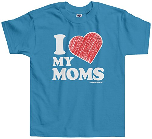 Threadrock Little Boys' I Love My Moms Toddler T-Shirt 3T Turquoise