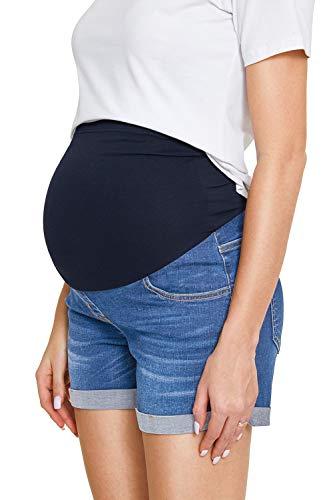 Damen Jeansshorts Strecken Umstandsshorts mit Bauchband für Sommer Hotpants (M, Hellblau 03)