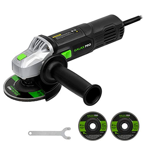 GALAX PRO Angle Grinder, 6 Amp Grinder 4-1/2 Grinding Disc with 2 Abrasive Wheels, Side Handle, Safety Guard & Spanner for Disc Attachment, for Removing Paint & Mortar, Sanding, Cutting, Grinding