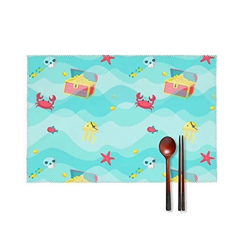 Doinh Er zijn krabben, kwallen en schatten in de zee Plate mat Tafelmatten Hoge Temperatuur Resistant Anti-Skid Wasbaar Isolatie Karton canvas Placemat Set van 4