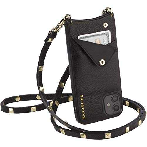 Bandolier Sarah Crossbody Phone Case and Wallet - Black Leather with Gold Detail - for iPhone X/XS