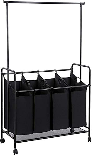 SONGMICS 4-bag Rolling Laundry Sorter with Hanging Bar Heavy-duty with Wheels &...