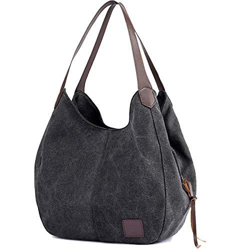 TCHH-DayUp Hobo Purses for Women Canvas Tote Shoulder Bags Cotton Handbags (Black)
