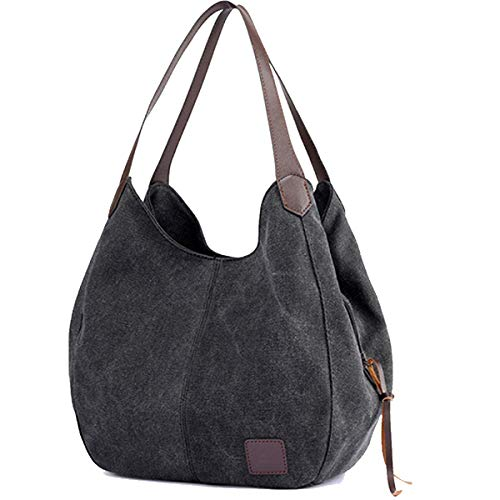 TCHH-DayUp Women Canvas Hobo Tote Shoulder Handbags Top Handle Purses with Multi-Pockets and Compartments Color Black