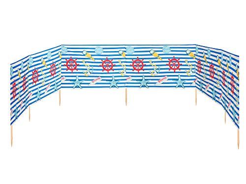 Ladeheid Strand Windschutz Sichtschutz 8 m lang LAEX001 (Streifen/Marine Gegenstände-3)
