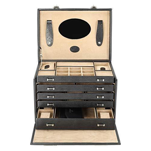 Windrose Merino Schmuck-/ Uhrenkoffer mit Schmucktasche 33 cm schwarz