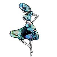 ZALING 女性のための人工宝石ブローチピンダンスガールピンガールアールデコアクセサリーコサージュ
