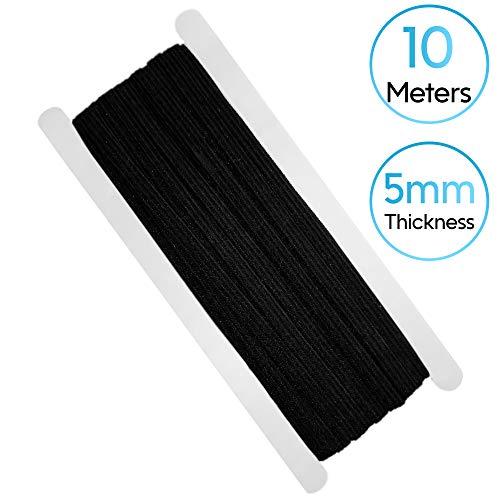 APPSOLS 10 Meter/5mm Gummiband schwarz rund Waschband Elastisches Flachgummiband Ideal für mundschutz