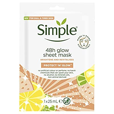 Simple 48h Glow Sheet Mask Brightens And Revitalises, Protect 'N' Glow, Pack of 1, 25ml by Unilever Uk Limited