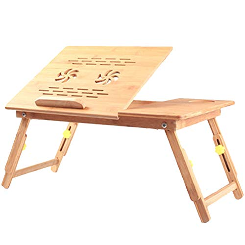 HTDZDX - Mesa Plegable para Ordenador portátil, Altura Ajustable, Mesa de bambú