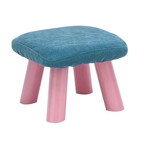 Sywlwxkq Taburetes para pies Reposapiés Reposapiés Taburete pequeño Taburete para sofá Reposapiés de Tela Banco de Zapatos Hogar Sala de Estar Cocina, 2 tamaños, 7 Colores (Color: Azul, Tam