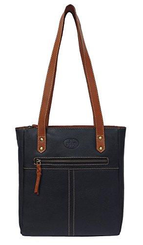 Damen Leder Tasche, Umhängetasche Leder, Damentasche, Ledertasche, Schultertasche Leder, Handtasche, Damen Handtasche, Shopping-Tasche, Echtleder - Schwarz