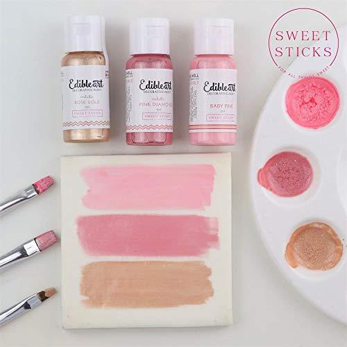 Sweet Sticks Edible Art Decorative Cake Paint 0.5 Ounce (15 Milliliters), Metallic Rose Gold