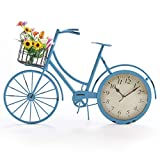 The Lakeside Collection Rustic-Look Mantle Bicycle Clock with Flower Accent Handlebar Basket