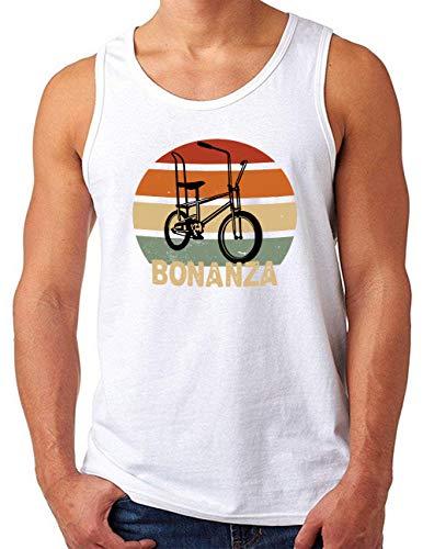 OM3® Bonanza Fahrrad Tank Top Shirt   Herren   Retro Vintage Rad Bonanzarad IV   Weiß, M