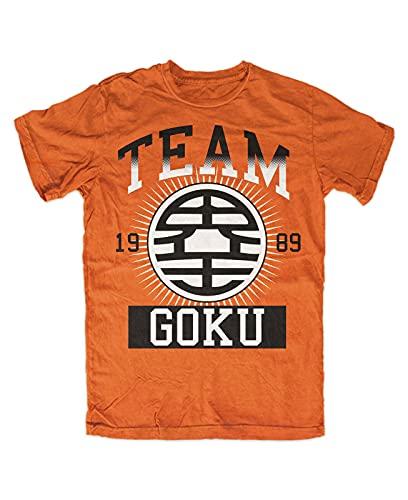 Team Goku T-Shirt-Dragonball Z-Son-Goku DBZ roshis Gym Manga Man T-Shirt 100% Cotton Sleeve Shirt Orange M