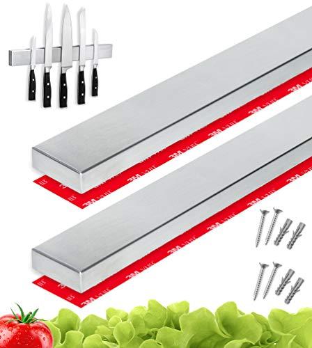 Cucino® Messer Magnetleiste selbstklebend - 40cm Messerhalter magnetisch aus Edelstahl für Wandmontage ohne Bohren, edle Messer Aufbewahrung für die Küche - 2 Stück