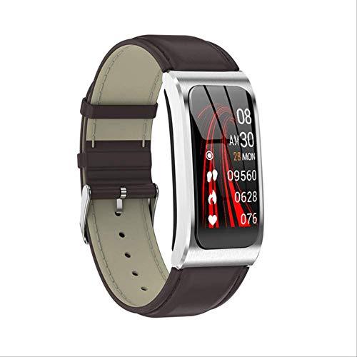 IRFKFTIntelligente UhrAk12 Smart Watch Armband Ip68 Wasserdichtes Blutdruckmessgerät Weiblicher Menstruationszyklus Aktivitätsmonitor Sportband MännerLeder Silberbraun