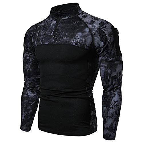 Camisa táctica de manga larga con cremallera de 1/4 para hombre, estilo militar, con bolsillos, parte superior de airsoft, ropa al aire libre, para caza, camping, senderismo, Negro Camo Python, M