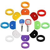 16PCS Key Caps Covers Tags, Key Cap Key Ring Combination Key Identifier Label ID Perfect Coding System to Identify Your Key in 2 Different Style 8 Different Colors