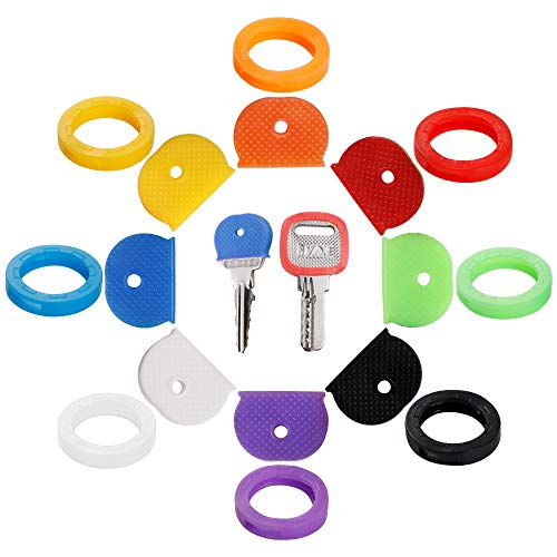 32PCS Key Caps Covers Tags, Key Cap Key Ring Combination Key Identifier Label ID Perfect Coding System to Identify Your Key in 2 Different Style 8 Assorted Colors