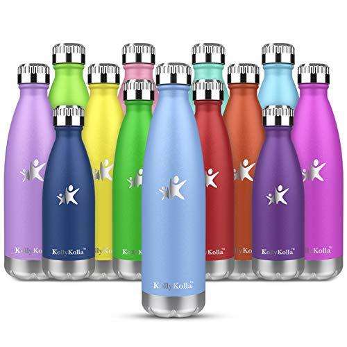 KollyKolla Botella de Agua Acero Inoxidable, Termo Sin BPA Ecológica, Botellas Termica Reutilizable Frascos Térmicos para Niños & Adultos, Deporte, Oficina, Yoga, Ciclismo, (500ml Macaron Azul)